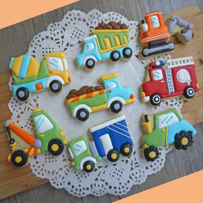 8 Stks Voertuig Machines Truck Winkel Cookies Fondant Mallen Mixer Kraan Auto Brandweerwagen Koekjes Snijders Moulds Cake Decoratie