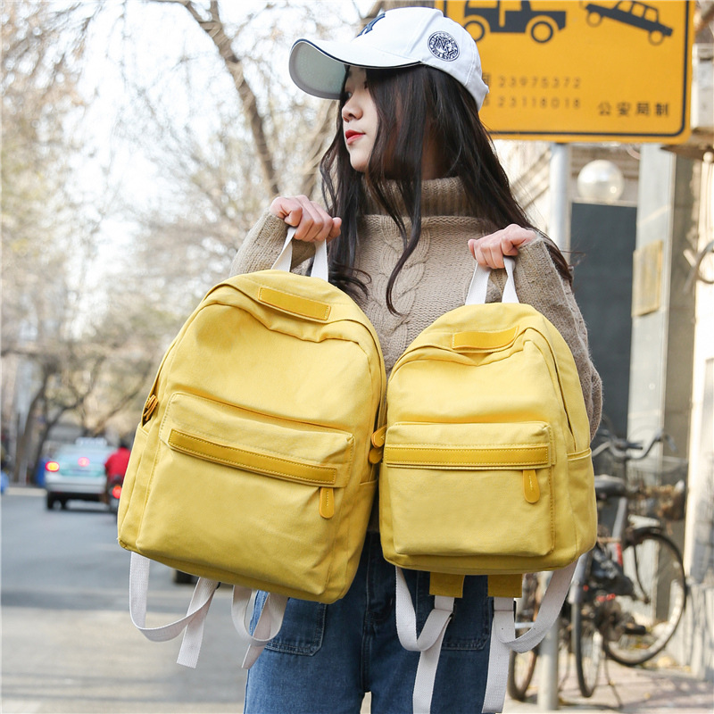 QVP01-03 2018 spring and summer explosions solid color backpack canvas simple student bag casual cute travel backpack