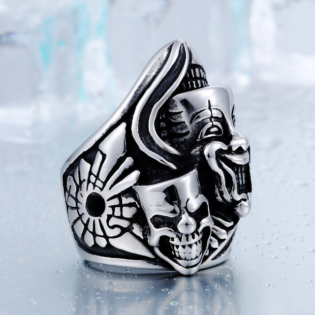 STAINLESS STEEL SADNESS CLOWN SKULL RING