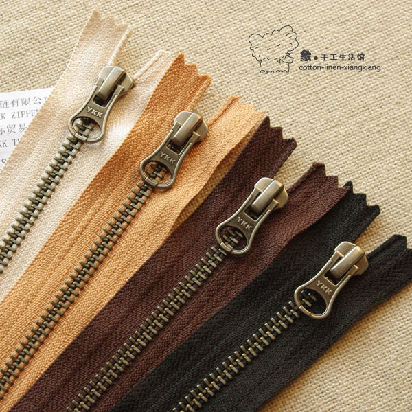 Zippers for Bags YKK Zips No 5 Metal 10 inch Antique Gold Black Pack of 12