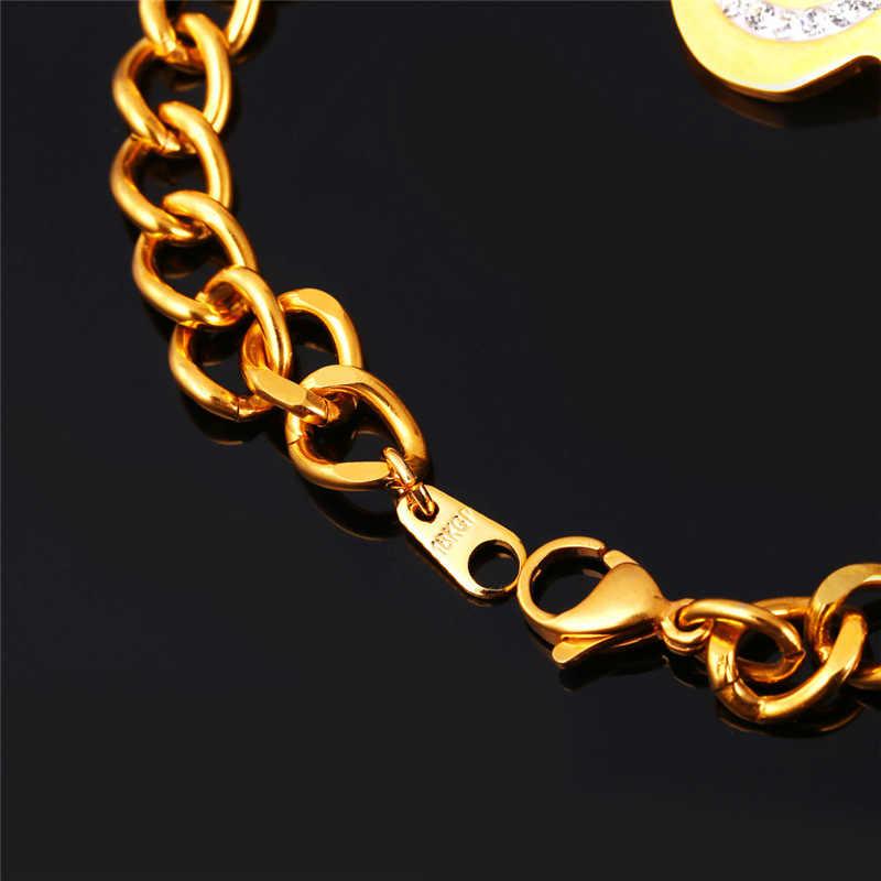 U7 dolar bransoletki dla kobiet mężczyzn biżuteria Trendy kryształ w złotym kolorze bransoletki ze stali nierdzewnej i bransolety H712