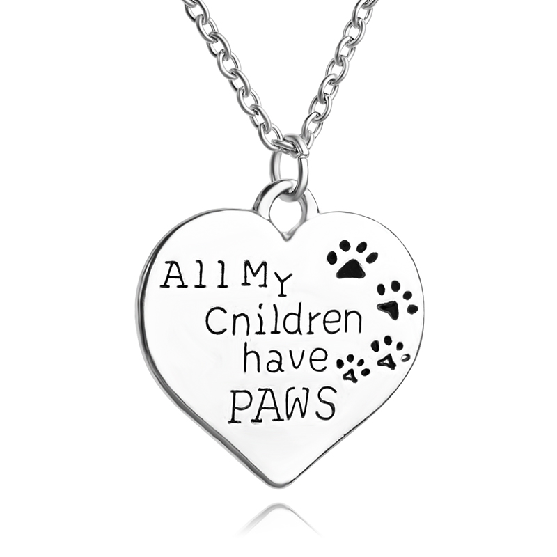 Animal Causes Necklace <font><b>All</b></font> <font><b>My</b></font> Children Have Paws Pet Lover Dog Paw Print Tag Silver <font><b>Love</b></font> Heart Pendant Necklace