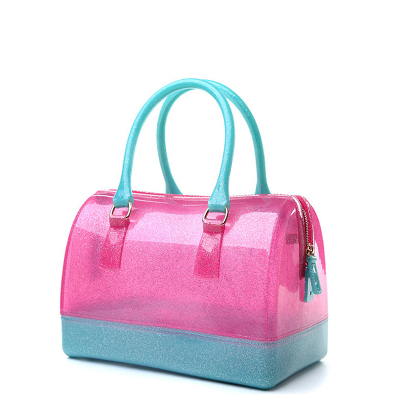 Fashion Transparent Candy Color Hand Bag Silica Gel Medium Size Women Barrel-Shaped Bag Lady Casual Contrast Color Shoulder Bag