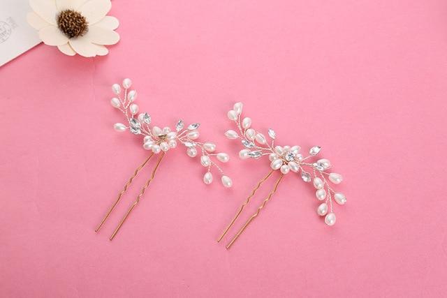 1PCS Pearl Rhinestone Hair plug wedding bride headdress handmade jewelry small hairpin wedding hair accessories for headdress