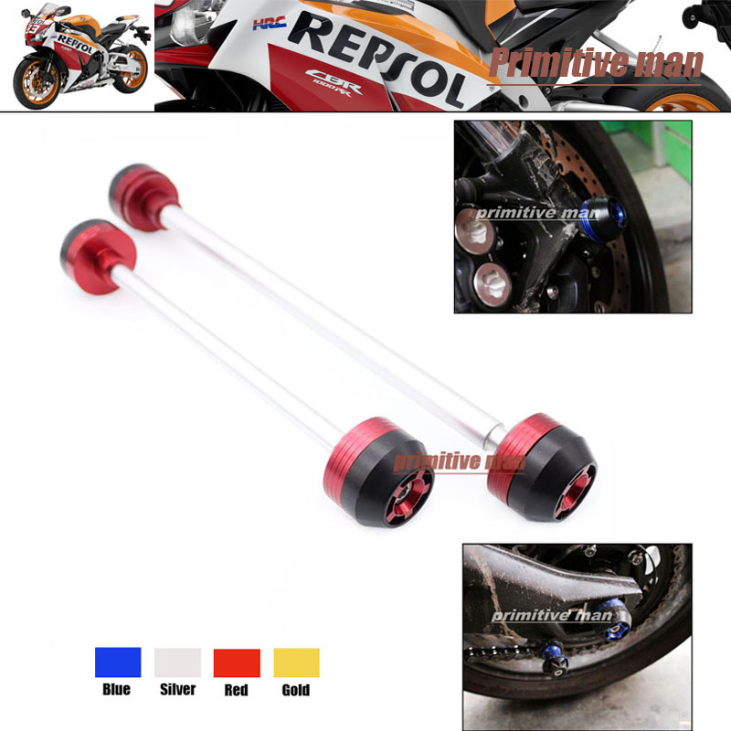 ФОТО Motorcycle For CBR1000RR 2008-2013 Motrcycle Accessories Front & Rear Axle Fork Crash Sliders Wheel Protector Red