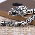 Collar del dragón artesanales Vintage 990 collar de plata del dragón de plata pura tibetano OM Mantra Dragon collar hombre collar
