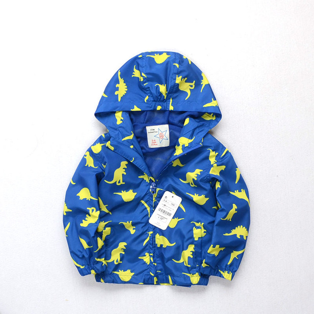 Autumn Baby Boys Print cartoon printed hooded jacket dinosaur windbreaker Children's coat wholesale