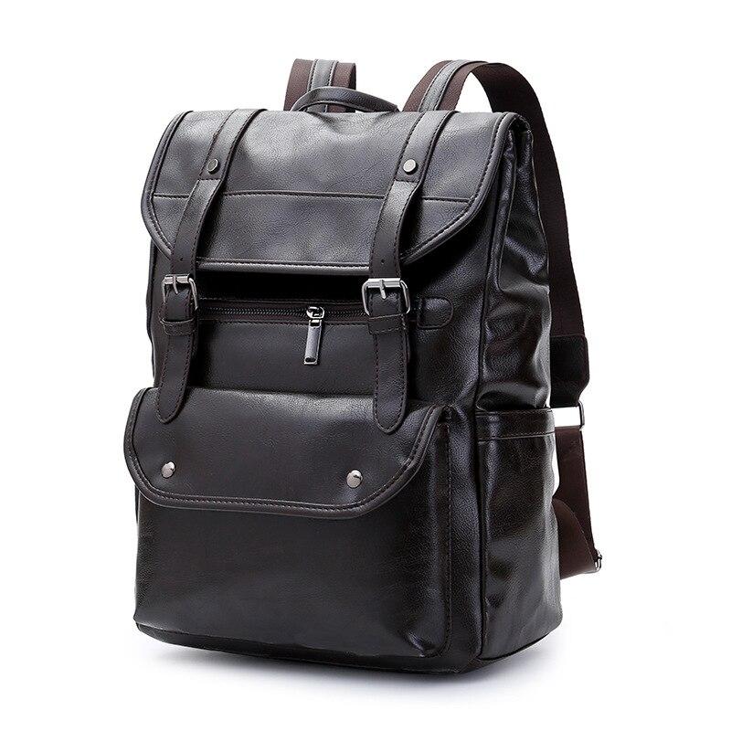 Роскошный кожаный деловой черный мужской рюкзак для ноутбука, мужские школьные рюкзаки для подростков, мужской рюкзак для ноутбука, мужска... - 5