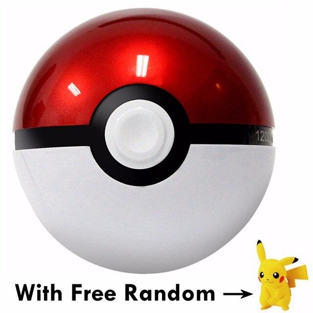 1 ШТ. НОВЫЕ Поступления: 12000 мАч Покемон Перейти Мяч II Power Bank Магия мяч Зарядное Устройство Двойной Порт USB для всех телефонов + Бесплатный Случайная покемон