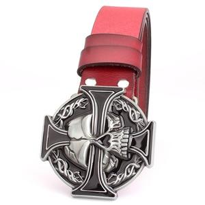 Image 5 - Man skull belt Punk style men belt buckle skull head silver skull Cross skeleton pattern mens genuine leather belt gift for man