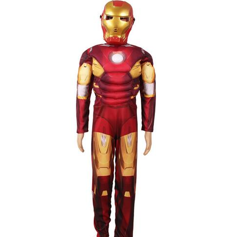 Children the avengers Iron man costume with musle .stretchy party clothes ,clothing for kid NL1191