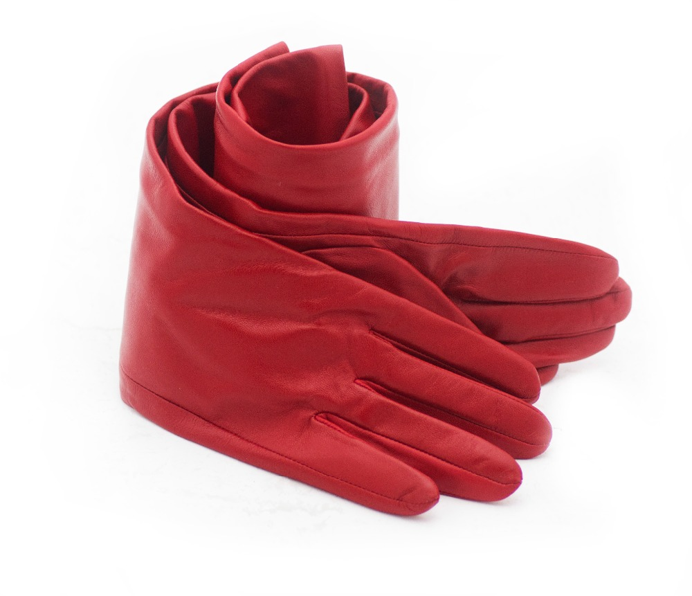 50cm 19 7 quot long plain cool real sheep leather evening long gloves red in Women 39 s Gloves from Apparel Accessories