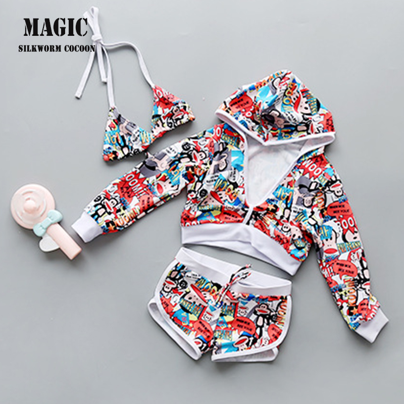 Girls Swimsuit Children With Print Skirt Three -pieces Separate Children's Swimwear Beach 3 Piece Swimwear Children Swimwear