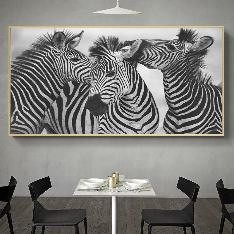 Черный и белый 3 изображение зебры милые украшения для дома Скандинавская Картина на холсте настенный художественный принт в виде симпатич...