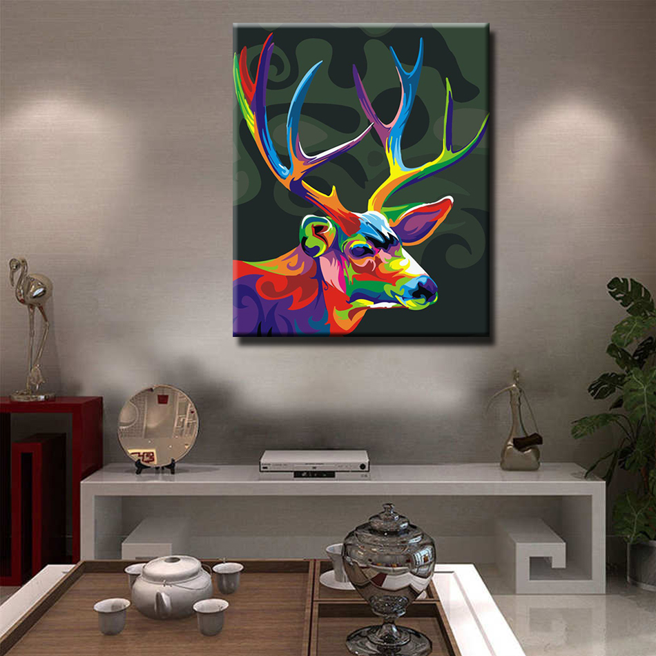 WEEN Colorful deer Paint By Numbers Oil Painting On Canvas With Frame Home Decor Wall Art For Living Room Acrylic Paint 40x50cm in Painting Calligraphy from Home Garden