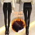 Mulheres novo inverno costura rendas finas calças de couro calças pés S2477 outwear mulheres de slim moda selvagem calça casual feminina