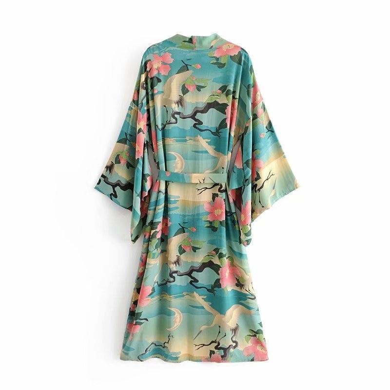 Boho V Señoras Impresión Bohemia Verde Picture Murciélago Blusas Vintage Kimono Mujer Cuello Casuales As Fajas Manga Floral 7x0x4Wn