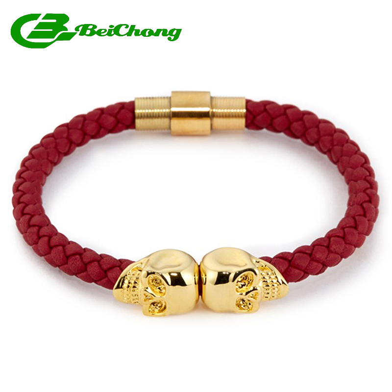 (10pcs) Fashion 6mm width Army Green Nappa Leather Gold Stainless Steel Twin North Skull Bracelet Bangle for Gift Watch