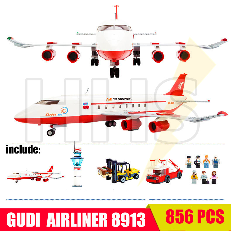 GUDI Airbus Plane Airplane Airline City Building Blocks Bricks MOC Compatible With Legoe City ninjago Toys toys for children decool 2114 building blocks military uh 60 black hawk plane airplane helicopter bricks blocks children toys compatible with lego