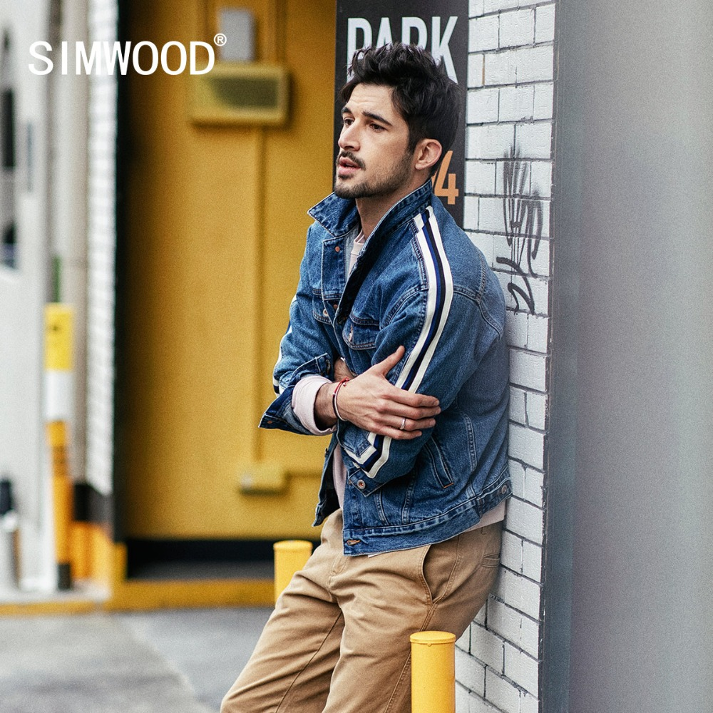 SIMWOOD Denim Jacket Men 2019 Autumn New Fashion Side Striped Jacket Hip Hop Street Wear  Plus Size Brand Clothing 190035