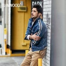 SIMWOOD Denim Jacket Men 2020 spring New Fashion Side Striped Jacket Hip Hop Street wear  Plus Size Brand Clothing 190035