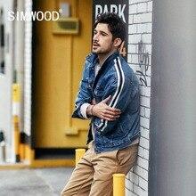 SIMWOOD Denim Jacket Men 2020 wiosna nowe mody boczne marynarka w paski Hip Hop odzież uliczna Plus rozmiar marki odzież 190035