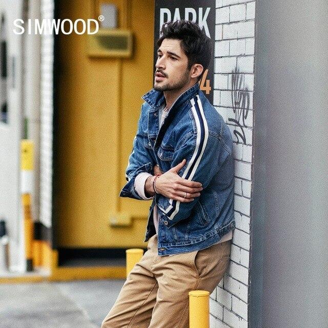 SIMWOOD di Giacca di Jeans Da Uomo 2020 primavera Nuovo Lato Di Modo Giacca A Righe Hip Hop Street wear Plus Size Marchio di Abbigliamento 190035