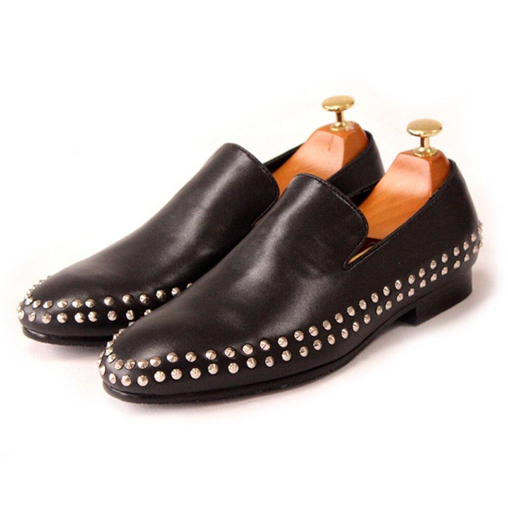 Erste Schwarzes Loop Männer Faul Schicht Leder Müßiggänger Double Füße Schuhe Von Niet Sätze Neue Flacher Herren 4qEBZYxwW