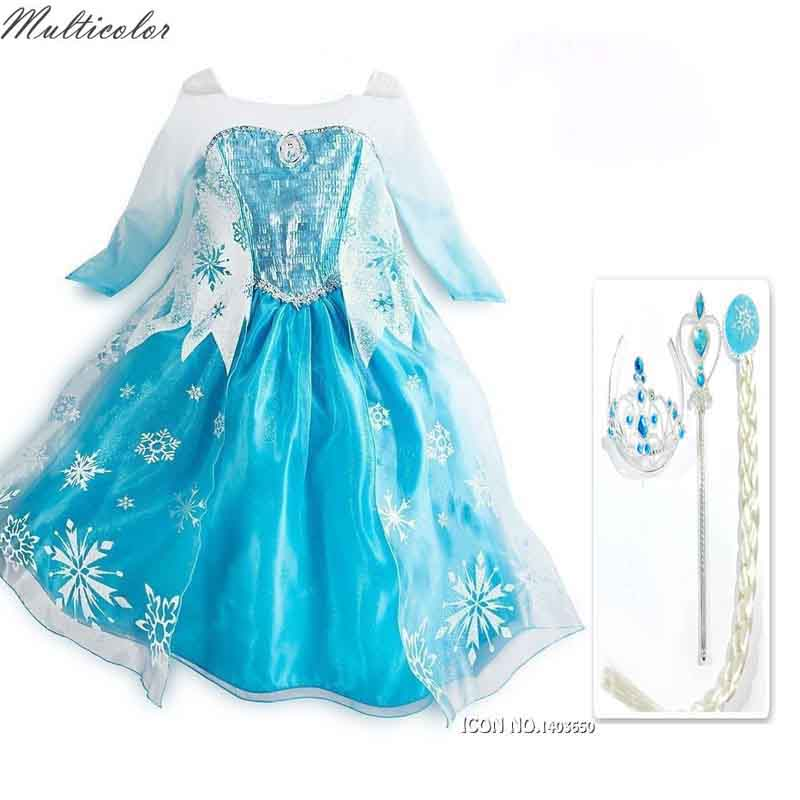 High Quality Custom Crown Set For Girls Anna Elsa Elza Dress Kids Princess Girl Baby Party Children Cloth Gift Dresses цена 2017
