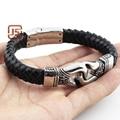 2016 new fashion fine jewelry men design genuine leather stainless steel bracelets vintage bangle mens fashionable bracelets