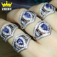 Real Blue Tanzanite Ring 925 Sterling Silver Platinum Plated 100 Natural Gemstone Wedding Woman Jewelry ZHIRY