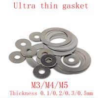 100 pièces rondelle plate en acier inoxydable joint Ultra mince cale Ultra-mince M3 M4 M5 épaisseur 0.1 0.2 0.3 0.5 1