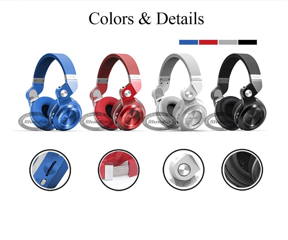 Bluedio T2 + Bluetooth casque 4.1 sans fil/fil écouteurs soutien FM Radio et carte SD fonctions pour casque de musique