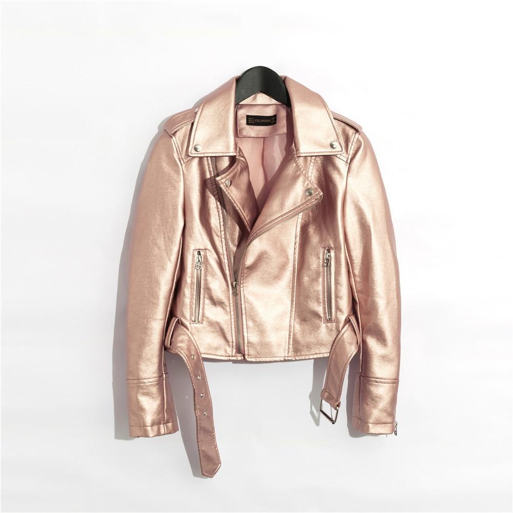 2018 women short coat Faux leather jackets soft high quality female casual clothes pink blue black V Rivet SML drop ship belt