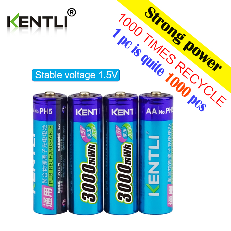 KENTLI 20 шт 1,5 v 3000mWh без эффекта памяти aa литий ионный полимерный литиевый аккумулятор + 4 слота USB зарядное устройство - 3
