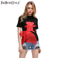 TWOTWINSTYLE 2016 Summer Creative Embroidery Red Goldfish Applique Knitted Short Sleeved T Shirt Women New