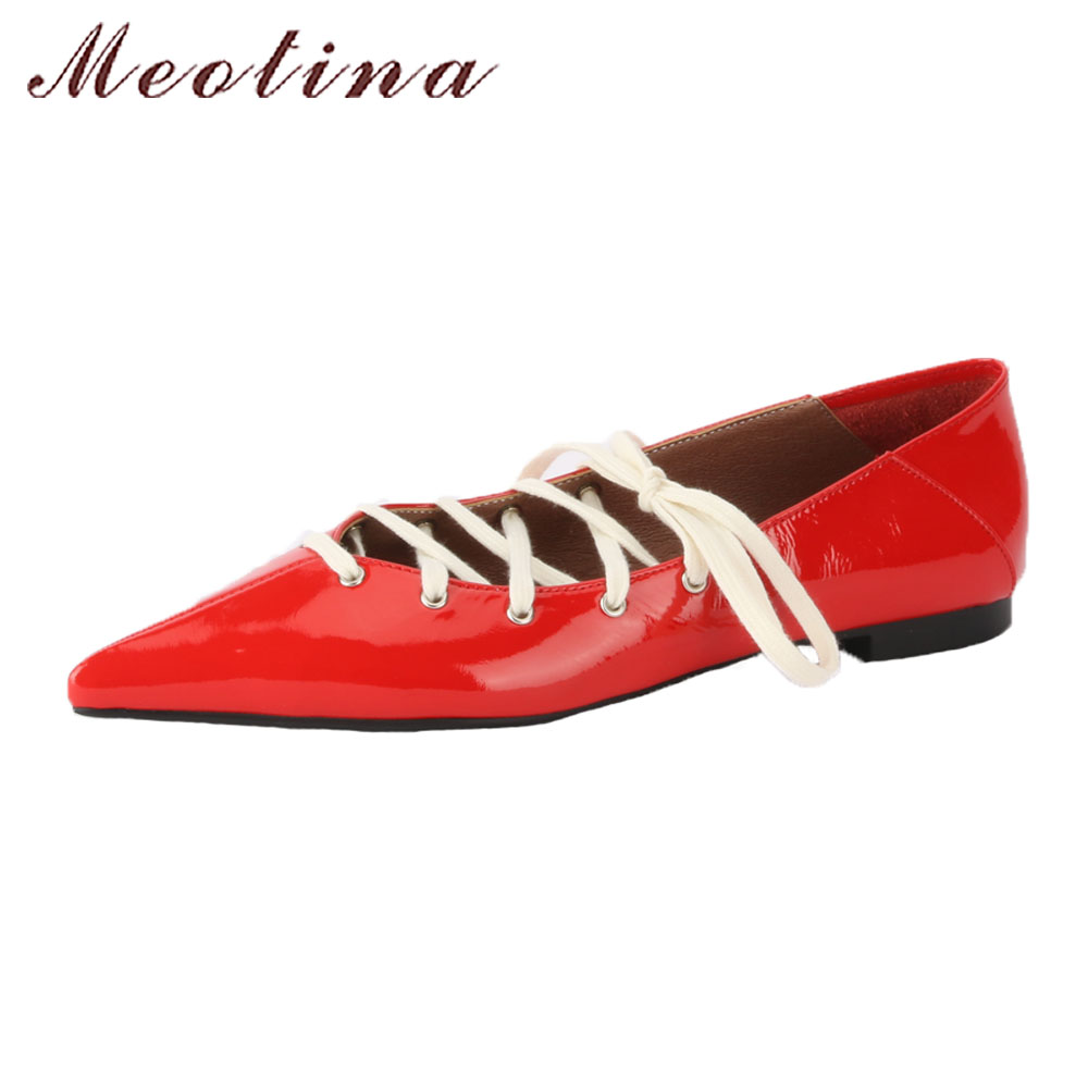 Meotina Genuine Leather Shoes 2018 Women Flats Red Lace Up Bow Casual Ladies Shoes Pointed Toe Patent Leather Shoes Slip Flats meotina women flat shoes ankle strap flats pointed toe ballet shoes two piece ladies flats beading causal shoes beige size 34 43