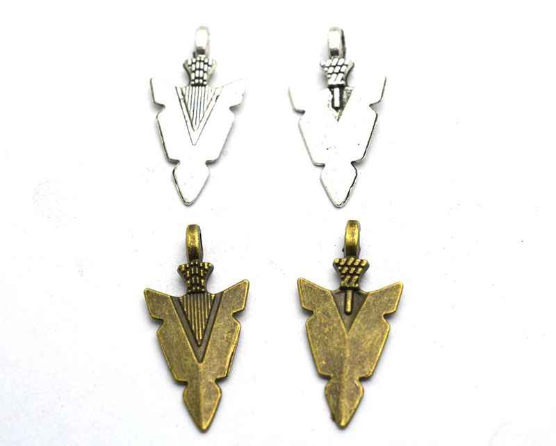 20pcs Antique Bronze Tribal Arrow Charm Pendants 15x30mm F508-2 Arrow Heads