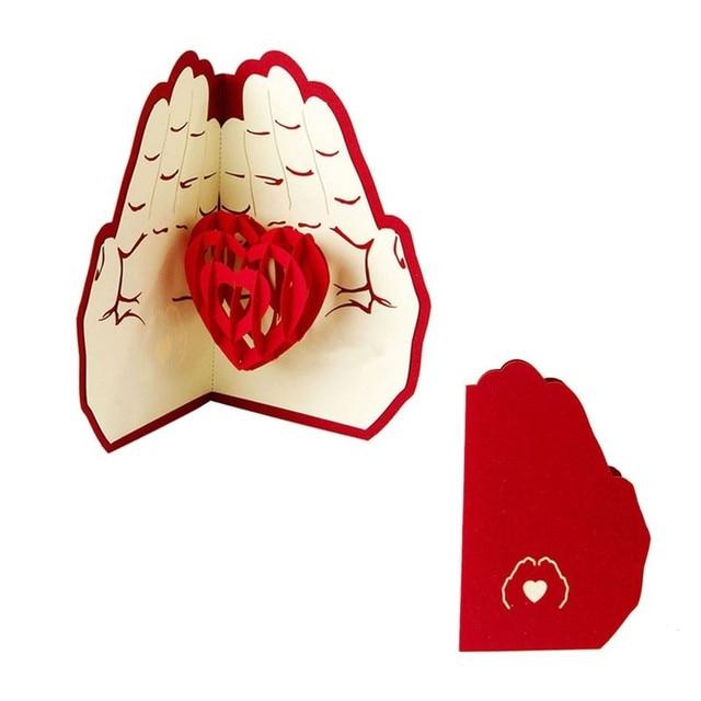 Hd 10pc laser cut 3d pop up greeting card creative handmade love in hd 10pc laser cut 3d pop up greeting card creative handmade love in the hand birthday m4hsunfo