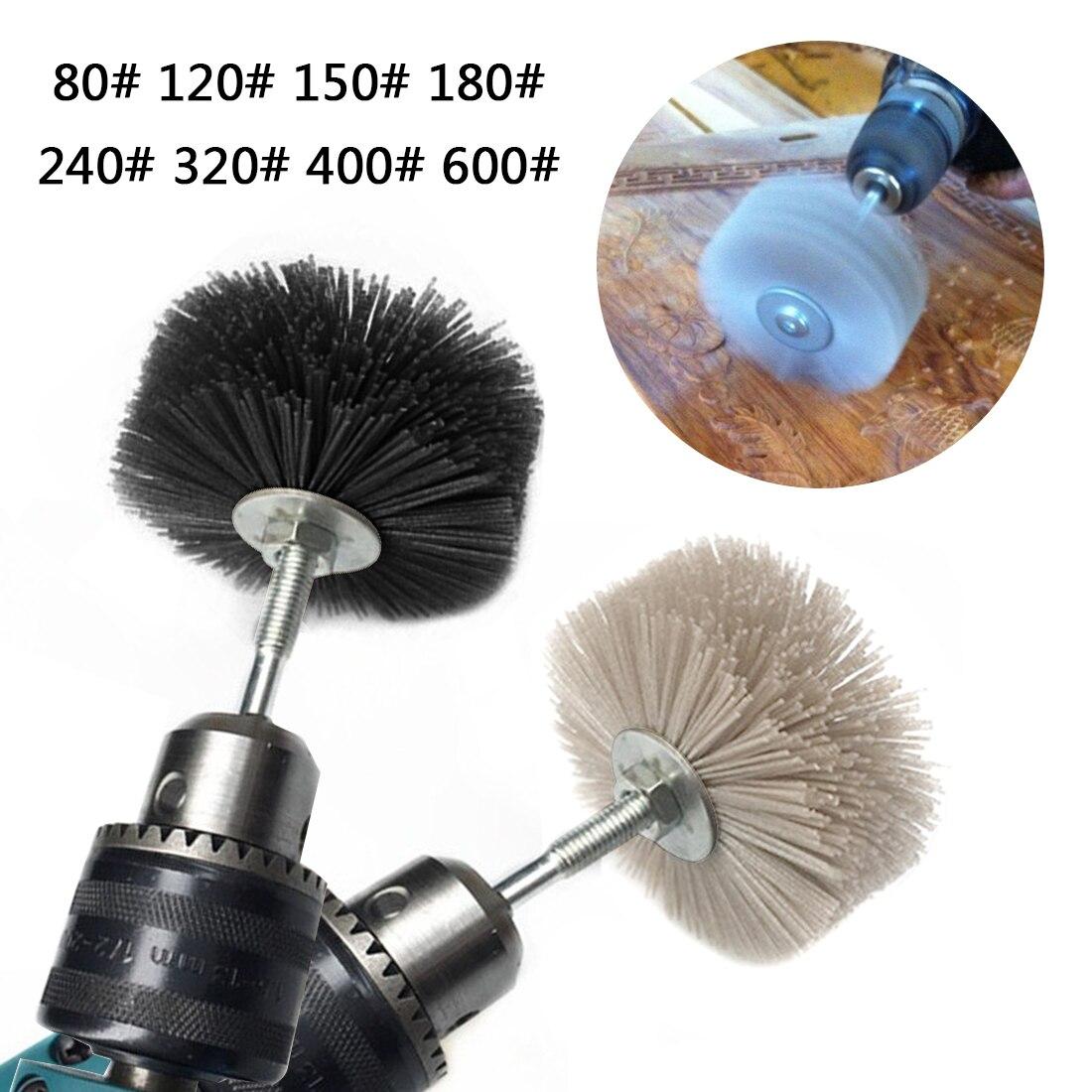 1 pçs 80mm broca abrasivo fio rebolo de cerdas de náilon polimento escova para móveis madeira acabamento mogno