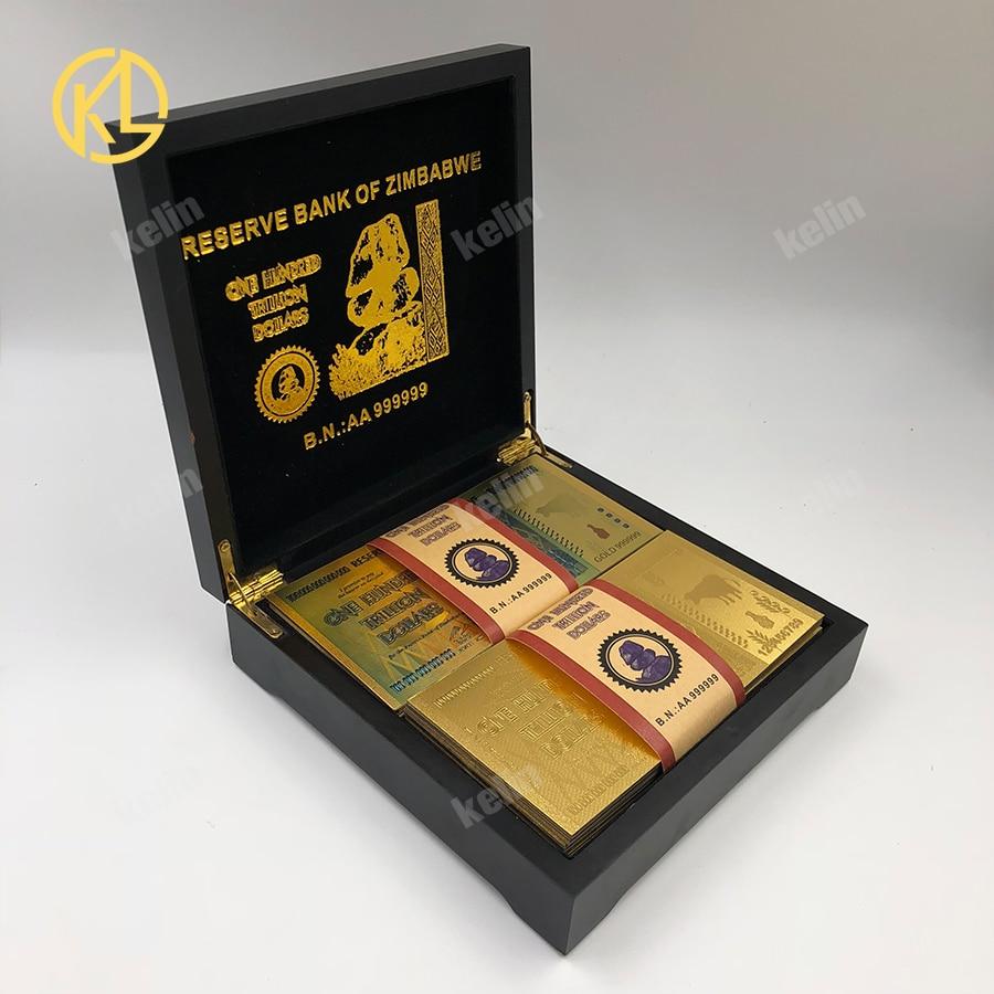 Ev ve Bahçe'ten Altın Banknotlar'de 100 adet/grup karışık 999 Altın Folyo 100 Trilyon Dolar Zimbabve Banknot güzel siyah için ahşap kutu'da  Grup 2