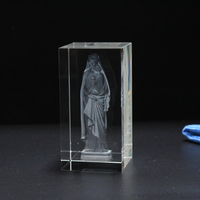 3D Laser Crystal Crafts Cube Carving Sculpture Glass Paperweight Home Wedding Decor Souvenir Figurines
