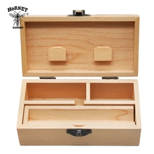HORNET Wood Stash Box With Rolling Tray Natural Handmade Tobacco  and Herbal Storage For Smoking Pipe Accessories