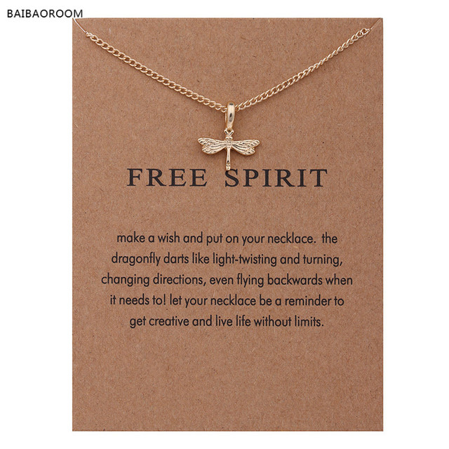 """Fashion Jewelry Reminder """"Free Spirit"""" Gold-color Dragonfly Pendant Necklace Wom"""