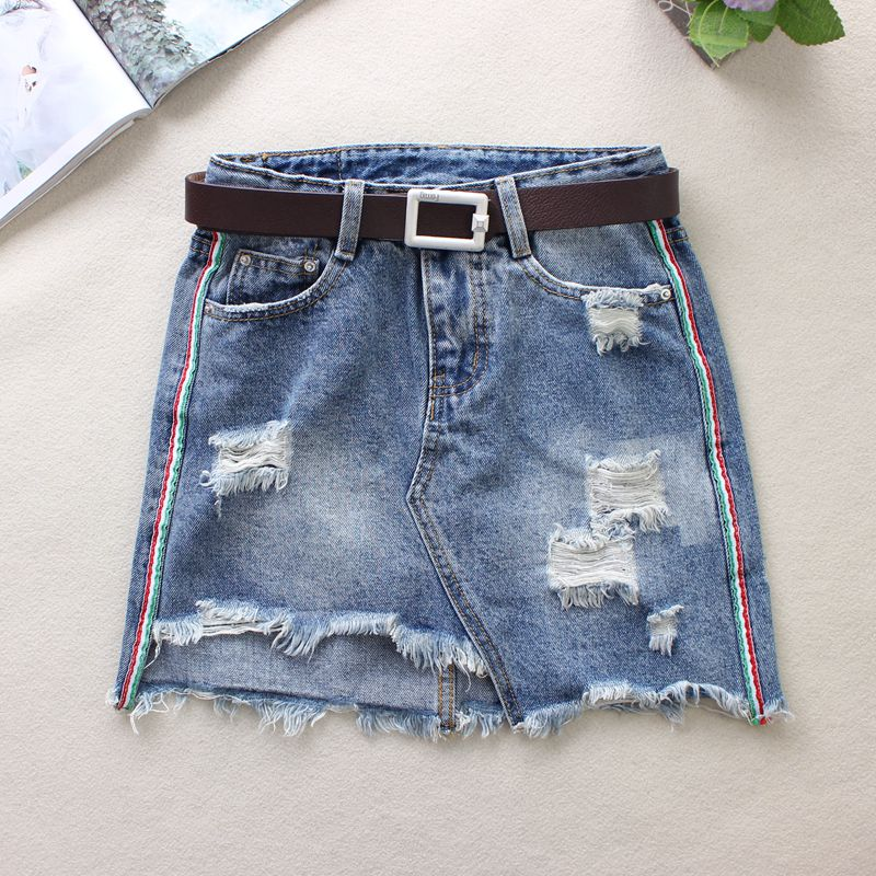 2018 Summer Blue Jeans Skirts Womens Hole Hair Edge Cloth Patchwork A-Line Skirts High Waist Above Knee Mini Denim Skirts 8615