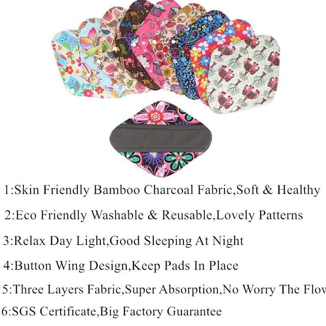 [simfamily]Reusable 6+1set Women Sanity Napkins Panty Liners Set Bamboo Charcoal Daily Use Sanitary Pads Mama Menstrual Pads
