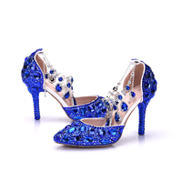 1c0e6ac81 2018 Royal Blue Crystal Wedding Shoes Pointed Toe Thin Heel Summer Sandals  Style Bride Shoes With