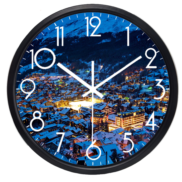 Evening Town Of Switzerland View Wall Clock Real Picture Design Wall Clock  Originality Quiet Clock