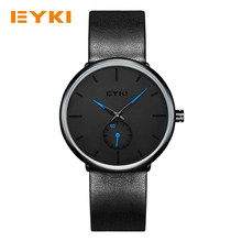 EYKI Men's Business Watch 3Bar Waterproof Two Dials Second Black Genuine Leather Strap Fashion Hands Top Watches