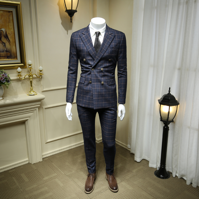 XM GEEKI Men Wedding Suit Jackets European And American Dark Blue Plaid Double-breasted Suits Male Suit British Style 365tz40